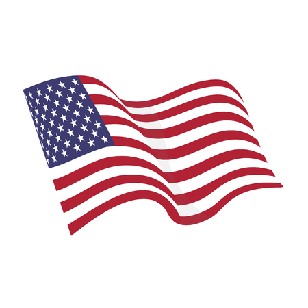 American waving flag vector icon, national symbol, red, white and blue with stars Illustration