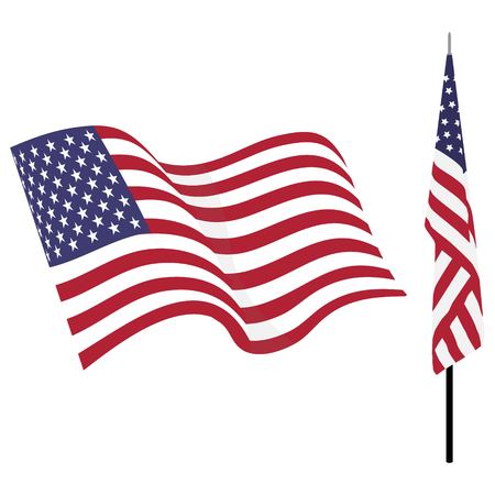 Waving american flag and flag on stand. Usa flag vector set isolated on white Illustration
