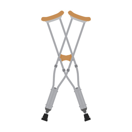 wooden leg: Crutches icon. Vector illustration of pair crossed wooden crutches or medical walking sticks for rehabilitation of broken leg. Illustration
