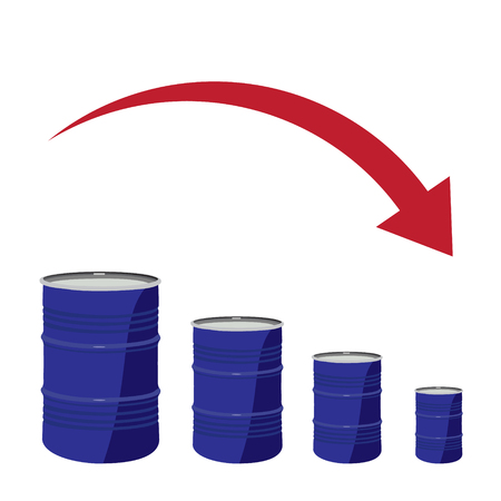 diesel: Vector illustration of oil barrel chart graph with red arrow pointing down. Oil and diesel price chart
