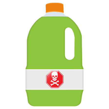 Vector illustration bottle with skull symbol. Danger symbol, biochemical poison. Plastic container with green liquid Illustration