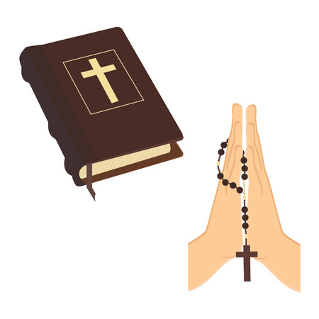 Vector illustration praying hands holding brown wooden catholic rosary beads and Holy Bible. Religious symbols. Praying symbol. Hands prayer icon Vector Illustration
