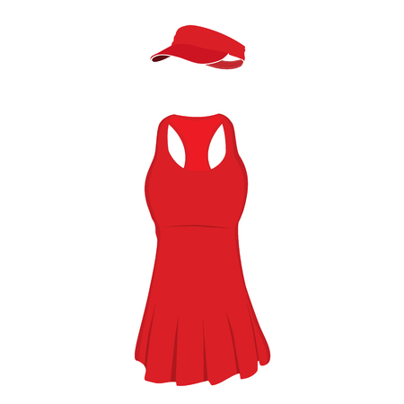 sportswear: Vector illustration red tennis dress with hat, cap. Sportswear, sport clothing, tennis clothing