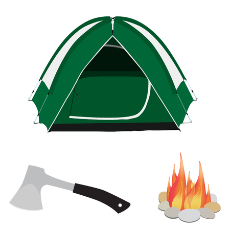 campfire: Camping equipment green camping tent, campfire with stones and axe with black handle vector illustration