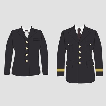 벡터 일러스트 레이 션 군사 유니폼, warpaint 남성과 여성의 집합입니다. 넥타이가있는 캡틴 자켓