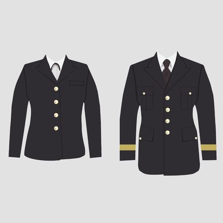 Vector illustration set of military uniform, warpaint male and female. Captain jacket with tie