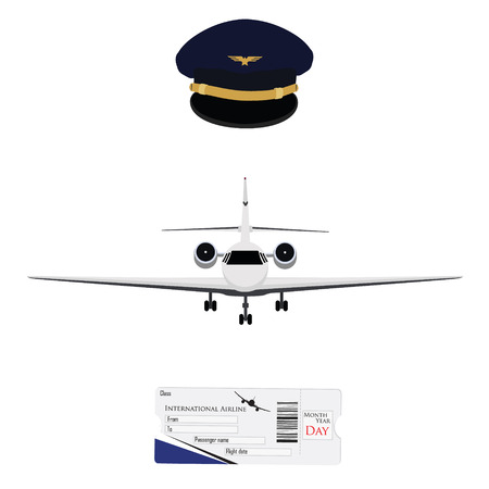 private jet: Vector illustration blue pilot cap with badge, uniform. Civil aviation and air transport. Airplane ticket plane ticket, boarding pass, check in. Private business jet Illustration