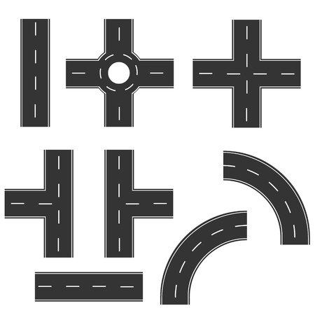 Road elements create your own road map. Vector illustration collection of connectable highway elements