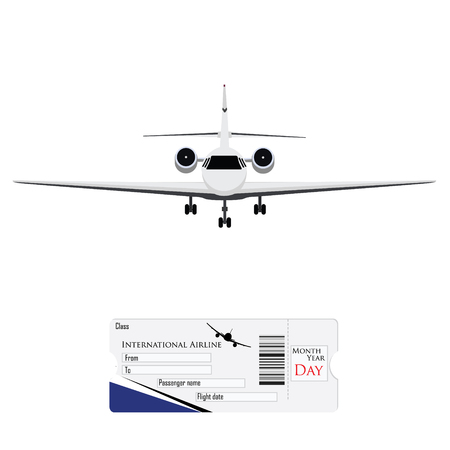 private jet: Vector illustration airplane ticket plane ticket, boarding pass, check in. Private business jet