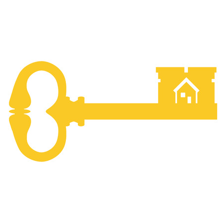 latchkey: Vector illustration golden old key silhouette. Vintage key. Antique key with house symbol