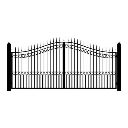 ilustracji wektorowych ogrodzenia kutego żelaza. Stare metalowe ogrodzenia lub bramy. Brama sylwetkę. Nowoczesne kute bramy