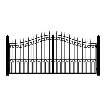 Vector illustration wrought-iron fence. Old metal fence or gate. Gate silhouette. Modern forged gates Illusztráció