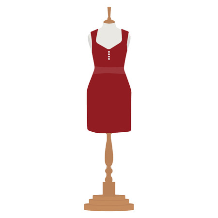 bordo: Vector illustration red, bordo elegant cocktail and evening woman dress  design on mannequin for boutique. Illustration