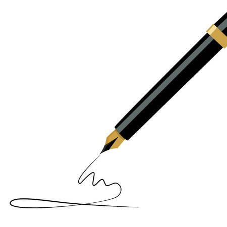 pen writing: Vector illustration golden fountain pen writing. Ink pen