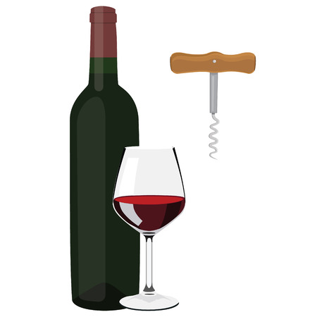 bottle screw: Raster illustration glass with red wine, wine bottle and wine corkscrew with wooden handle