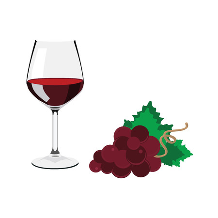 Raster illustation wine glass with red wine. Red grapes with green leaves