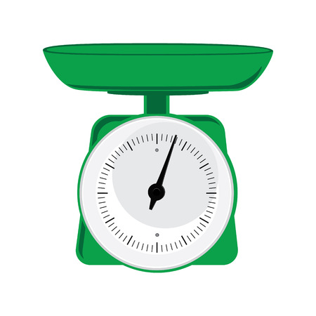 weighing scale: Raster illustration green weight scale on white background. Weighing scales with pan and dial  for weight measurement. Kitchen appliances or measuring tool Stock Photo