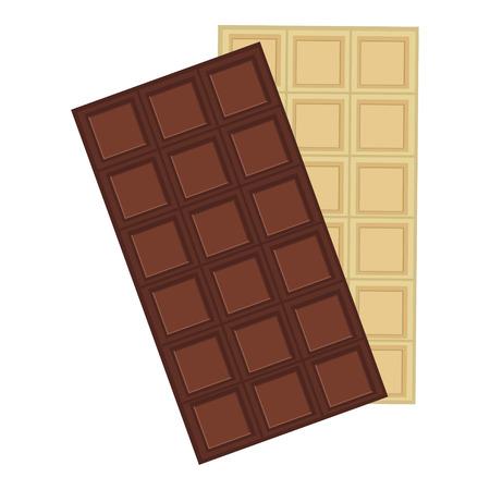chocolate bars: Raster illustration black and white chocolate bars. Dark chocolate. Chocolate bar icon