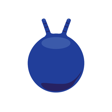 Raster illustration blue ball for fitness. Ball with handle Stock Photo