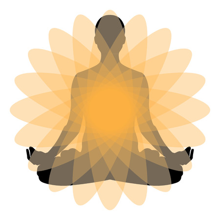 Raster illustration the sign of a man or woman meditating. Practicing yoga. Yoga lotus pose, women wellness concept