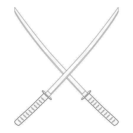 katana: Raster illustration crossed japanese katana swords outline drawing. Samurai sword, traditional weapon