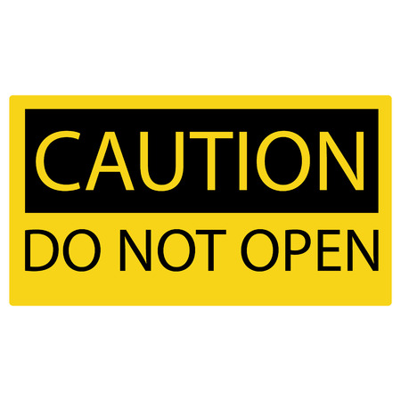not open: Vector illustration yellow caution sign do not open.