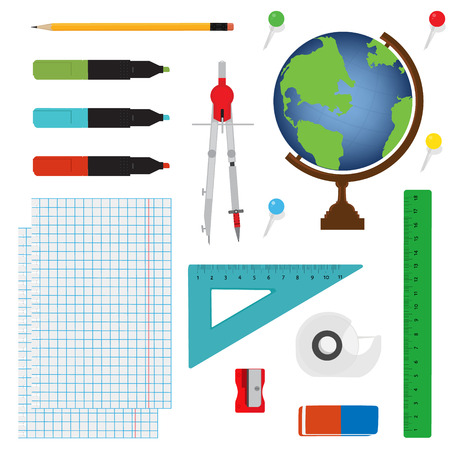 office accessories: Vector illustration of Back to School supplies. School supplies learning equipment and different school supplies colorful office accessories. School supplies equipment and back to school icons.