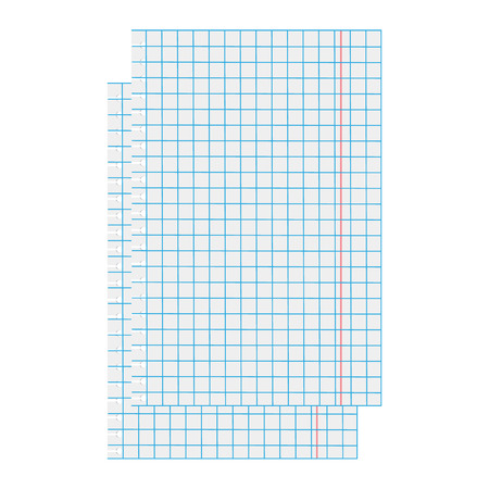 math paper: Vector illustration two white squared paper sheet. Blank squared paper. Exercise math paper