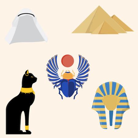 tutankhamen: Egypt vector icon set- pyramids giza, tutankhamen mask,  egypt cat and egyptian scarab beetle.