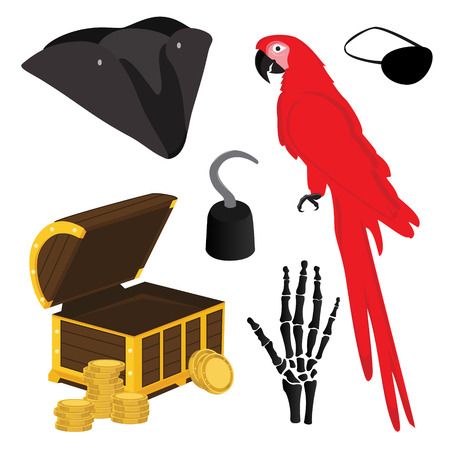 costume eye patch: Vector illustration pirate icon set with pirate hook, pirate hat, pirate eye patch, red parrot, hand bones and treasure chest
