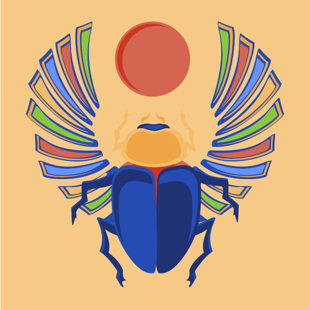 scarab: Vector illustration egyptian scarab beetle. Egyptian icons. Colorful the Egyptian sacred bug a scarab a symbol of the sun Illustration