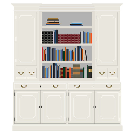 handbooks: Vector illustration white vintage cabinet with books -bibliography, encyclopedia and handbooks. Retro interior furniture. Bookshelf Illustration