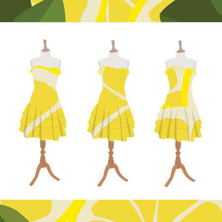 Vector illustration set of three beautiful, cute woman dresses on mannequin for boutique.  And seamless pattern with lemon slices