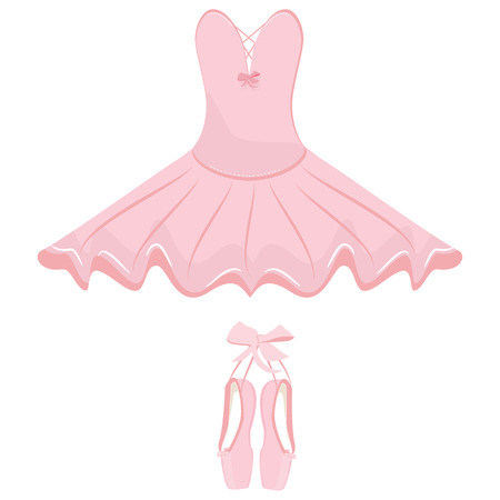 Vector illustration hanging pink ballet pointes and ballet dress. Pointes shoes and ballet tutu for ballerina. 免版税图像 - 61903050
