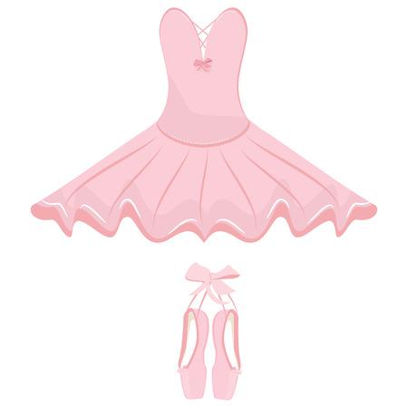 Vector illustration hanging pink ballet pointes and ballet dress. Pointes shoes and ballet tutu for ballerina. Illustration