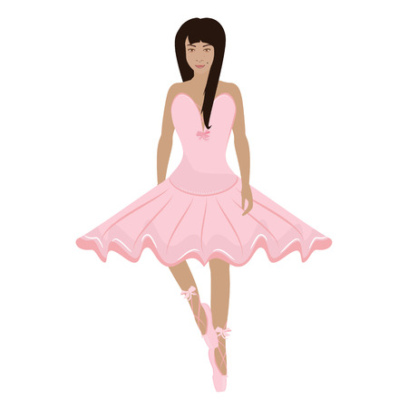 Vector illustration young girl in pink ballet pointes and ballet dress. Pointes shoes and ballet tutu for ballerina.