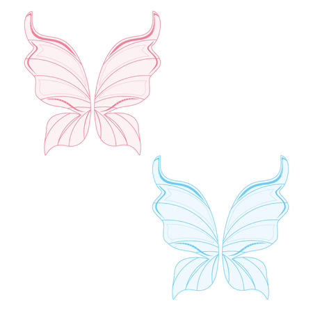 fairy wings: Vector illustration set of two transparent fairy wing blue and pink. Butterfly wings. Tooth fairy wings Illustration