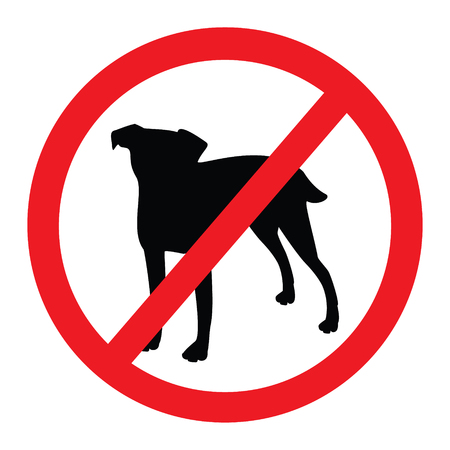 Raster illustration round no dog sign. No dog icon.