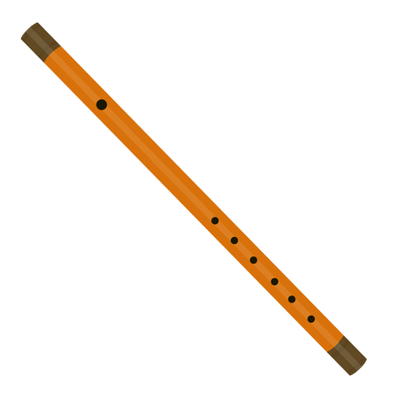 piccolo: Raster illustration musical instrument wooden reed pipe or flute. Wind instrument