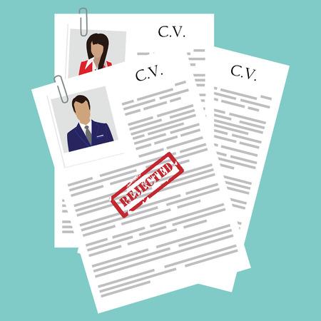 Vector illustratie verworpen CV-concept bovenaanzicht. Recruiting, werkgelegenheid, human resources, team management.