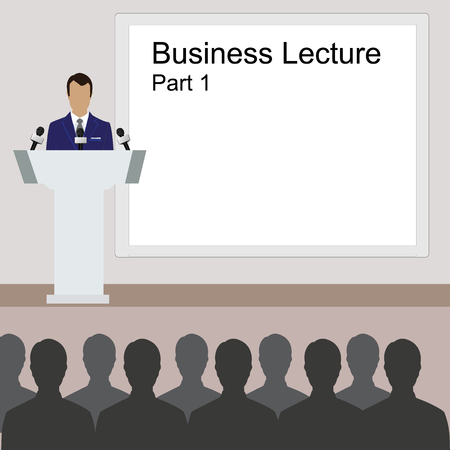 lecture room: Vector illustration of conference room. People at the conference hall. Business meeting template. Business lecture part one Illustration