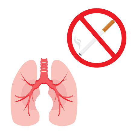 Vector illustration human lungs and stop smoking sign. Healthy lifestyle concept. Stop lungs cancer. Cigarette