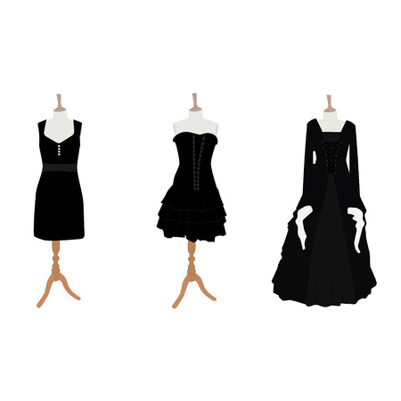 Vector illustration set of three black different design elegant cocktail and evening woman dresses on mannequin for boutique. Little black dress fashion