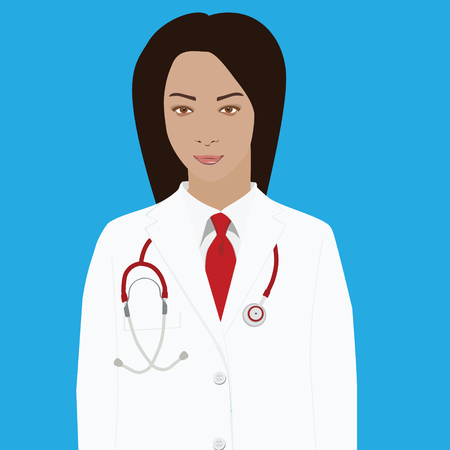 Vector illustration professional doctor in white medical uniform with red tie and with stethoscope Illustration