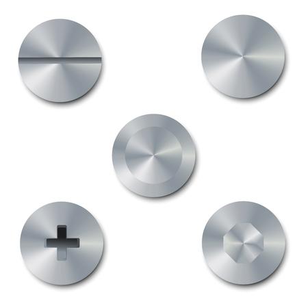 Vector illustration set de vis et boulons sur fond blanc. Bolt bouchon vue de dessus. Collection de métal vis et boulons brillants Banque d'images - 62145550