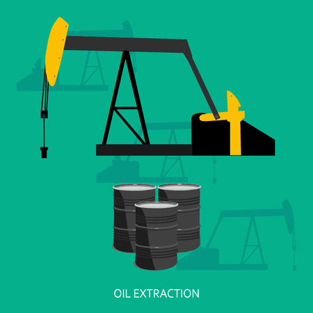 petroleum fuel: Vector illustration oil industry business concept of gasoline diesel petroleum fuel production. Oil extraction