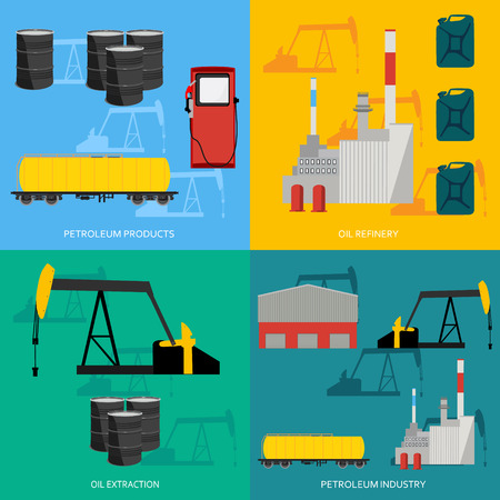 petroleum fuel: Vector illustration oil industry business concept of gasoline diesel petroleum fuel production four icons composition. Oil refinery and extraction