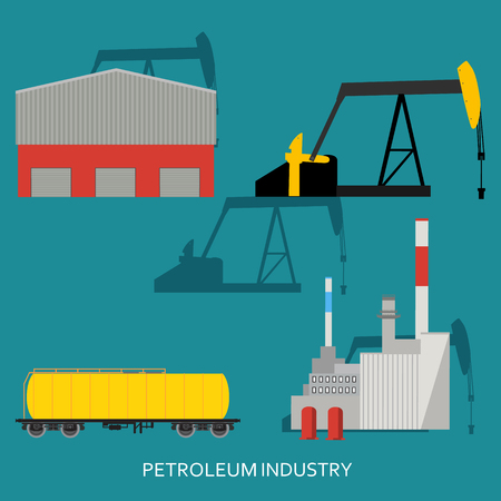 diesel: Vector illustration oil industry business concept of gasoline diesel petroleum fuel production. Oil refinery and extraction