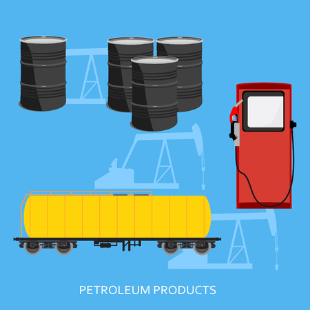 petroleum fuel: Vector illustration oil industry business concept of gasoline diesel petroleum fuel production. Oil refinery and extraction