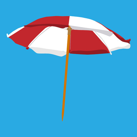 Vector illustration white and red summer beach umbrella isolated on blue background. Colorful beach umbrella Illustration